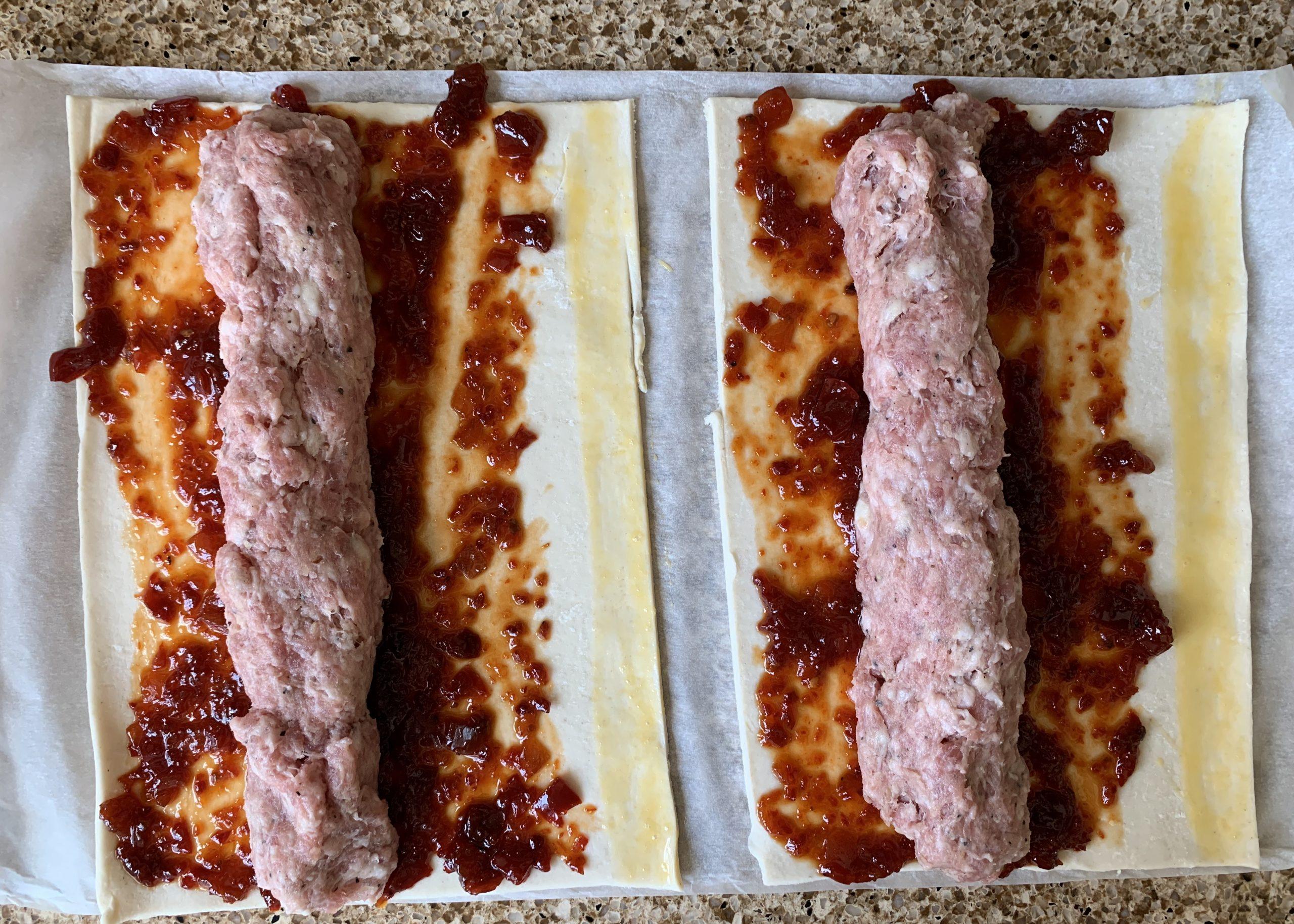 Making gluten free sausage rolls with chilli jam
