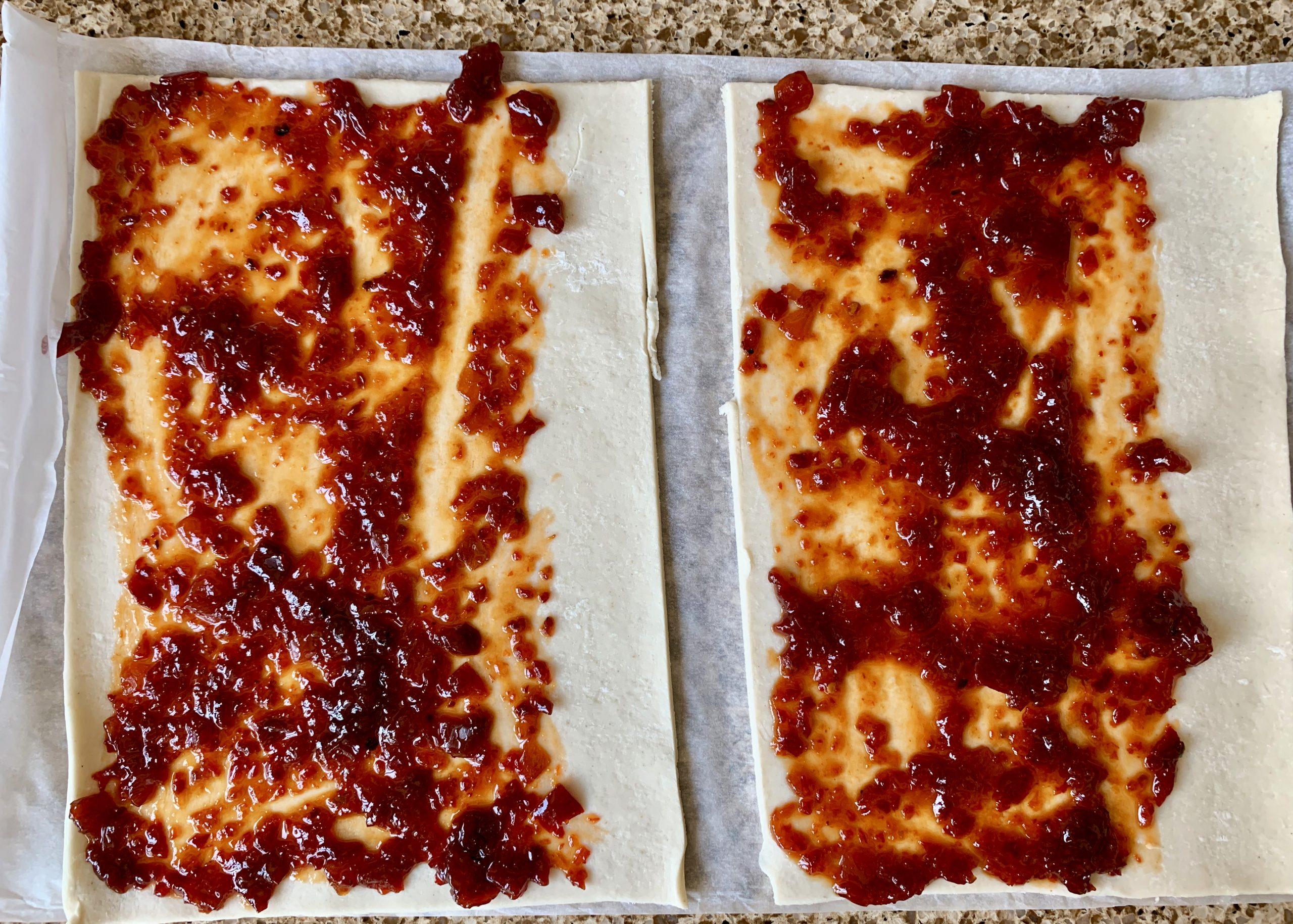 Chilli jam on gluten free puff pastry
