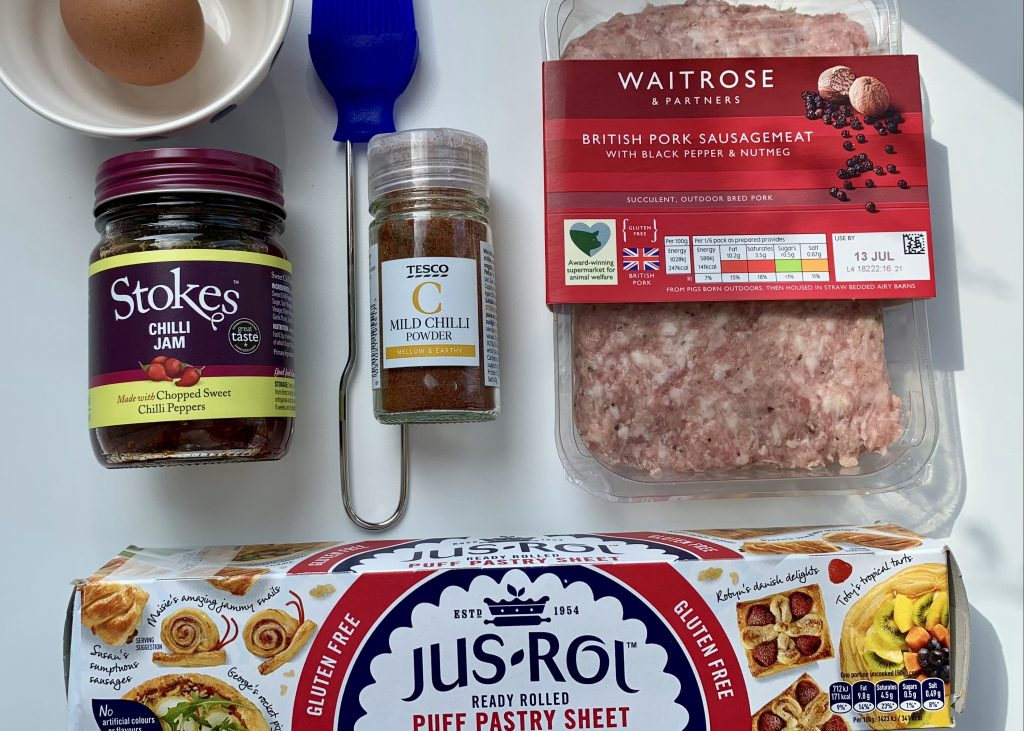 Flat lay of ingredients for gluten free sausage rolls