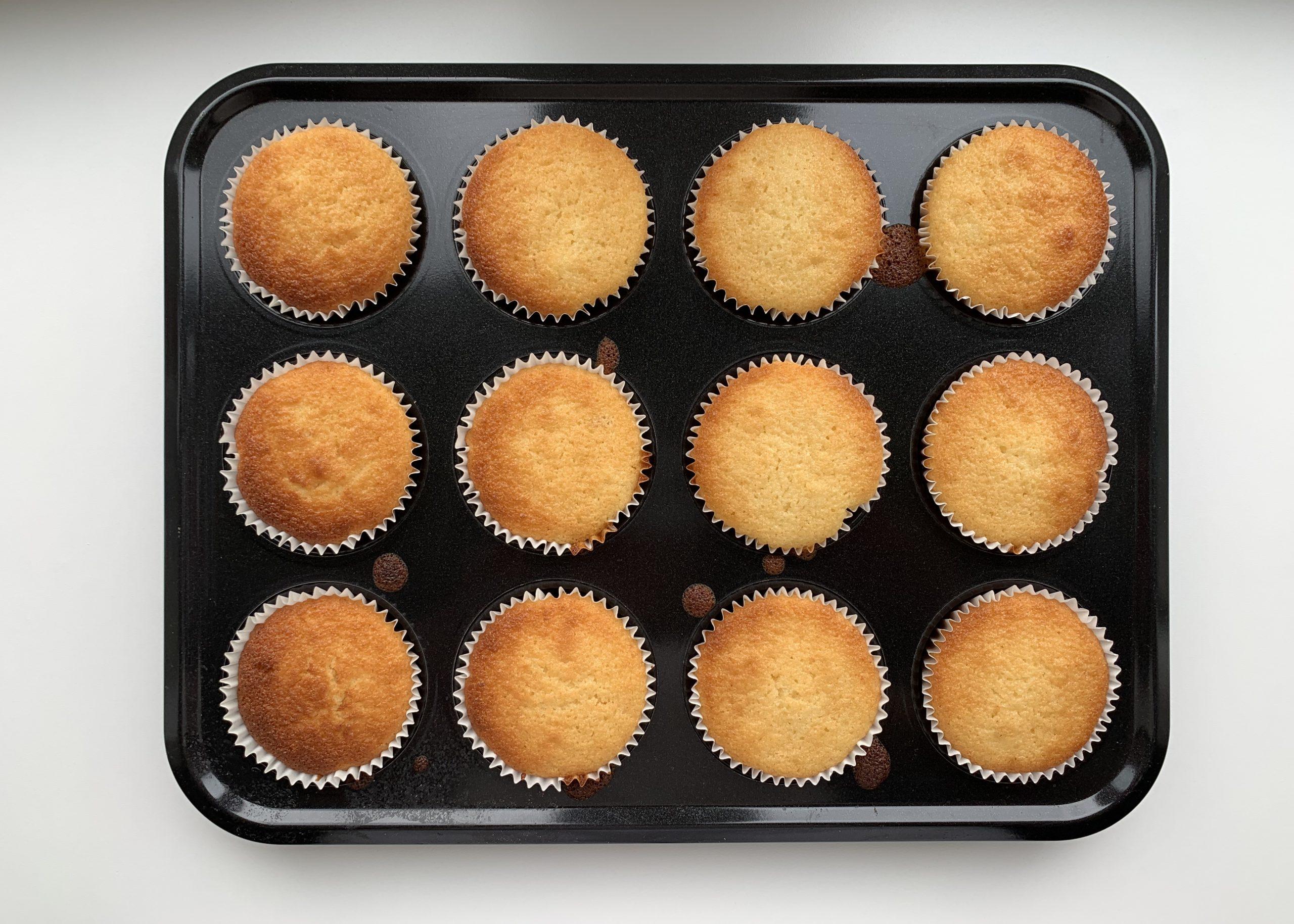 Gluten free citrus muffins in a muffin tin