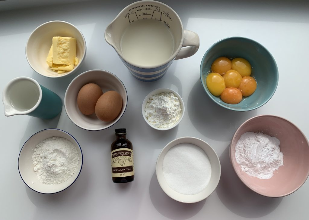 Flatlay of ingredients for gluten free choux buns
