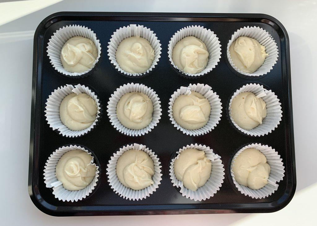 Gluten free sponge cake mixture in paper cases