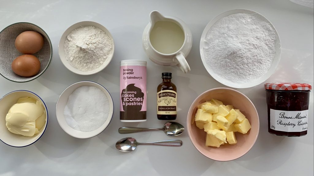 Flatlay of ingredients for gluten free butterfly cakes