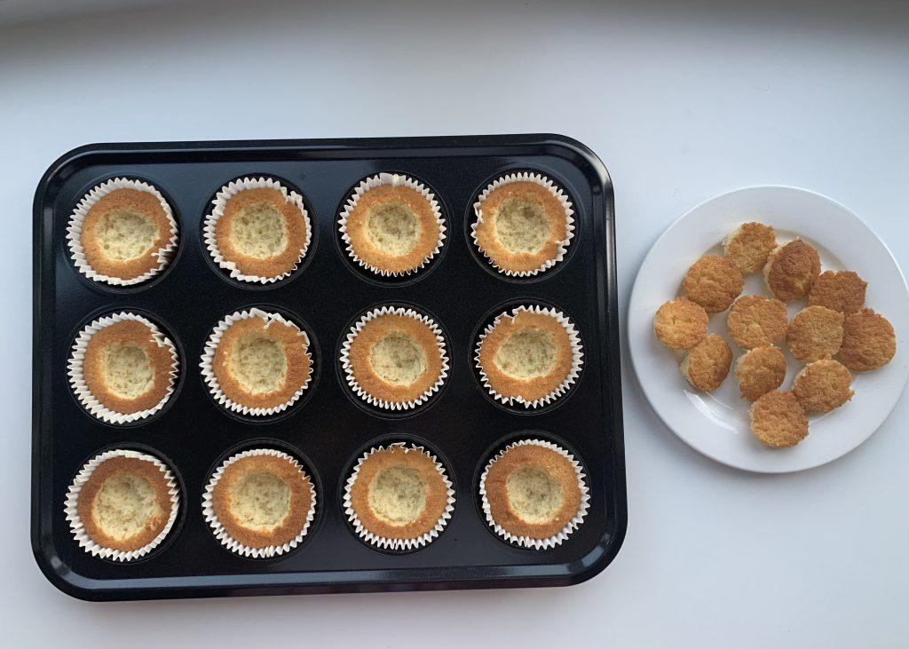 Assembling gluten free butterfly cakes