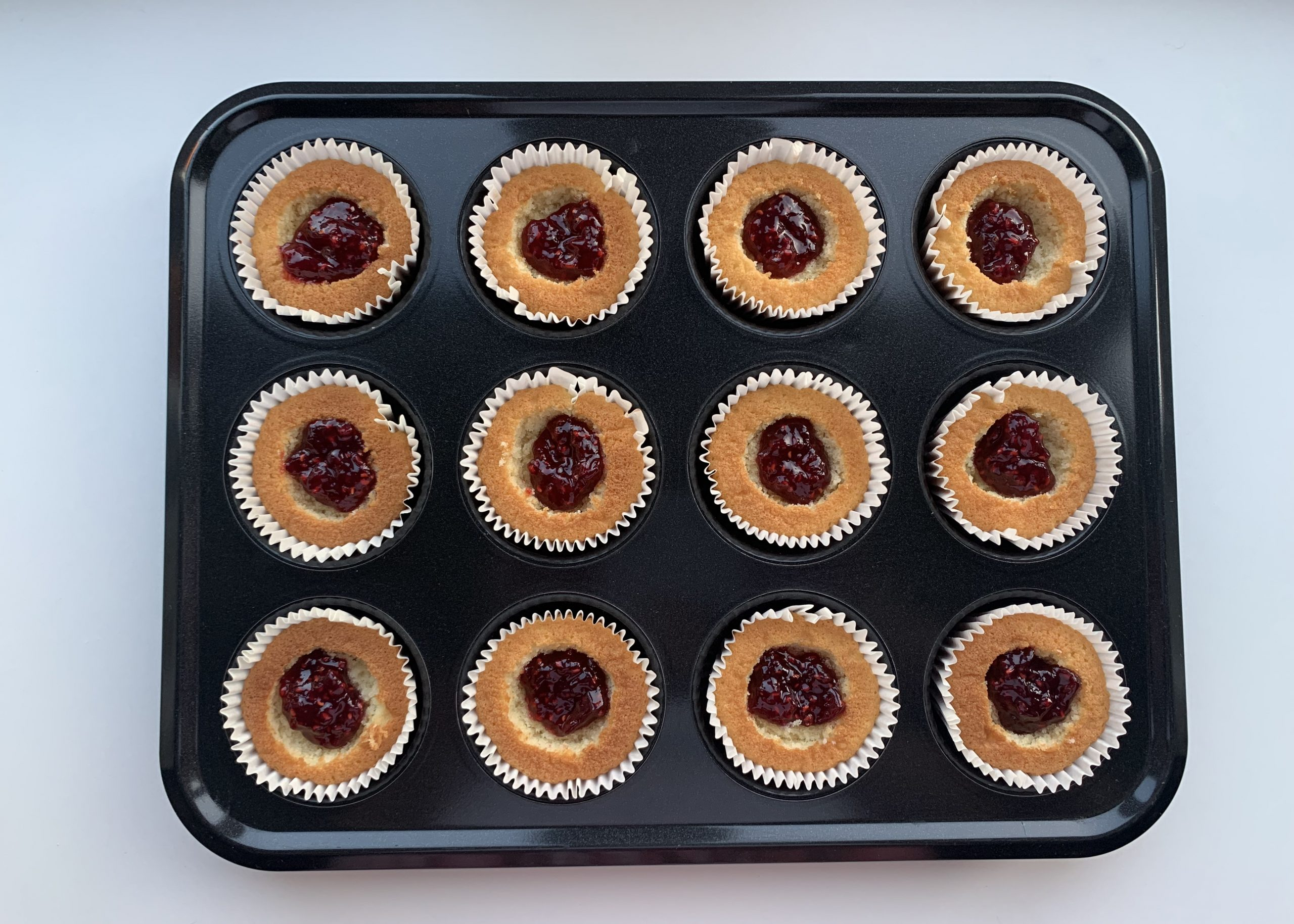 Gluten free butterfly cakes filled with jam